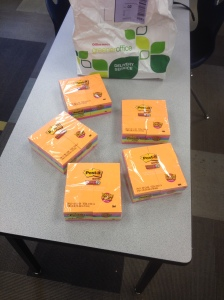 Office Depot has pledged support of GCAA student ideation this year via Sticky Notes. Here is the first shipment!